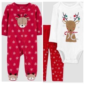 NWT Carter's Bundle - Reindeer Outfit & Fleece PJs